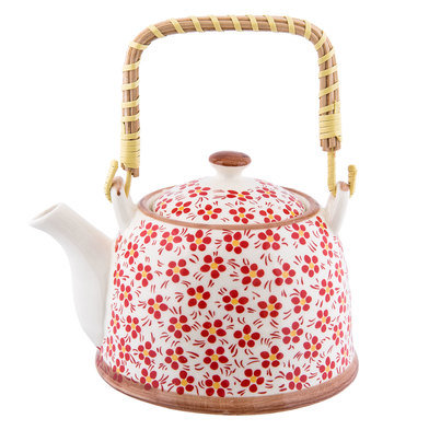 Theepot 18*14*12 cm / 0.7L Rood | 6CETE0031 | Clayre & Eef