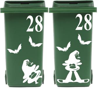 8 delige set Kliko container vleermuis & halloweenbeest + huisnummer | Rosami