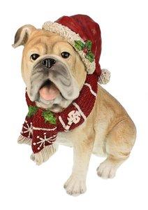 Mopshond beeld met kerstmuts 19x30x32 cm | Meander