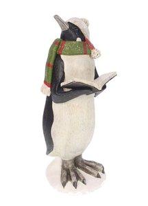 Pinguin met boek groene sjaal 10x11x25cm | Meander