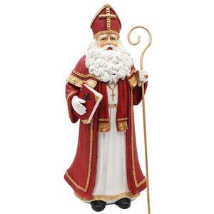 Decoratie beeld Sinterklaas met boek & staf 40x17x15 cm| A205743 | Dekoratief