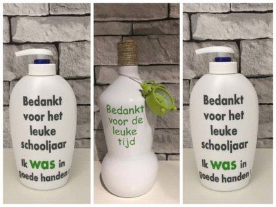 Voordeelset Juf Meester Cadeau 1 X Fles Klok Groen 2 X Zeeppomp