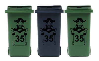 Voordeelset 3 x sticker koe kliko met huisnummer voor afvalcontainer   Rosami