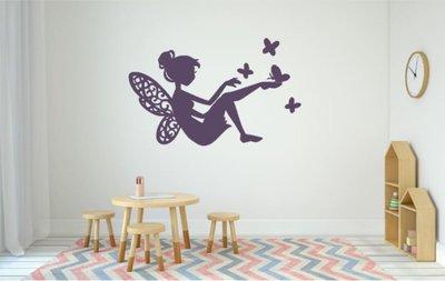 Vlinder Decoratie Babykamer.Sticker Fee Met Vlinders Paars Decoratie Kinderkamer Home Sweet