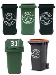 Voordeelset 8 sticker afvalcontainer / kliko | Rosami
