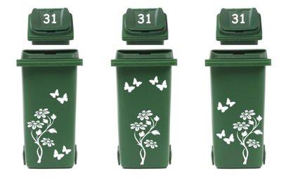 Voordeelset 3 x set sticker kliko bloem met vlinders & huisnummer | Rosami