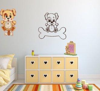 Muursticker Home Sweet Home.Decoratiesticker Hond Op Bot Donker Bruin 30 X 30 Rosami