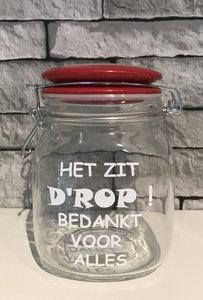Snoeppot Het Zit Drop Bedankt Juf Meester Kado